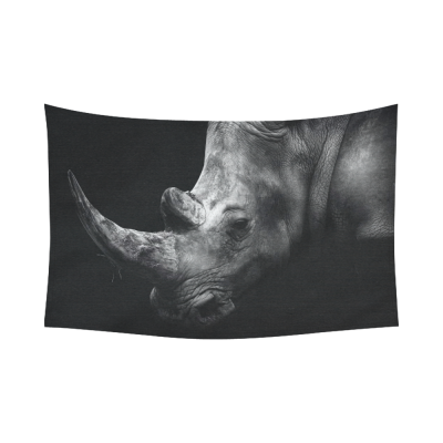 InterestPrint Animal Wall Art Home Decor, Rhino Black and White Cotton Linen Tapestry Wall Hanging Art Sets