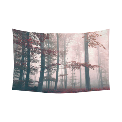 InterestPrint Nature Scenery Wall Art Home Decor, Beautiful Red Colored Foggy Mystic Forest Landscape Cotton Linen Tapestry Wall Hanging Art Sets