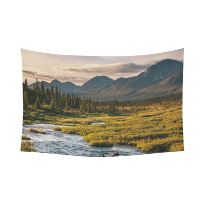 InterestPrint Mountain Landscape Nature Scenery Wall Art Home Decor, River on Alaska Cotton Linen Tapestry Wall Hanging Art Sets