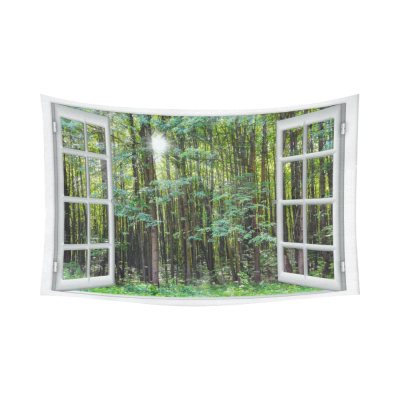InterestPrint Landscape Nature Scenery Wall Art Home Decor, Beautiful Sunrise Green Forest View from the Window Cotton Linen Tapestry Wall Hanging Art Sets