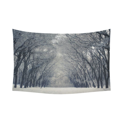 InterestPrint Landscape Nature Scenery Wall Art Home Decor, Beautiful Winter Snow Tree Cotton Linen Tapestry Wall Hanging Art Sets