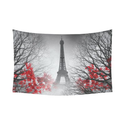 InterestPrint Cityscape Wall Art Home Decor, Eiffel Tower in Paris and Red Tree Cotton Linen Tapestry Wall Hanging Art Sets