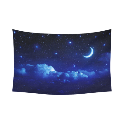 InterestPrint Night Sky Wall Art Home Decor, Starry Sky with Moon in Scenic Cloudscape Cotton Linen Tapestry Wall Hanging Art Sets