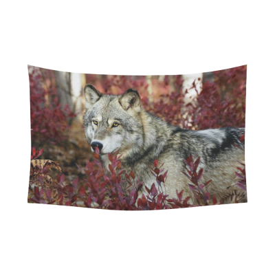 InterestPrint Animal Wall Art Home Decor, Grey Wolf in Beautiful Red Foliage Cotton Linen Tapestry Wall Hanging Art Sets