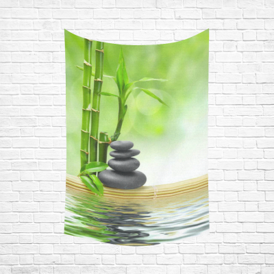 InterestPrint Green Bamboos Tree Wall Art Home Decor, Spa Concept Zen Basalt Stones Japanese Relaxation Design Cotton Linen Tapestry Wall Hanging Art Sets