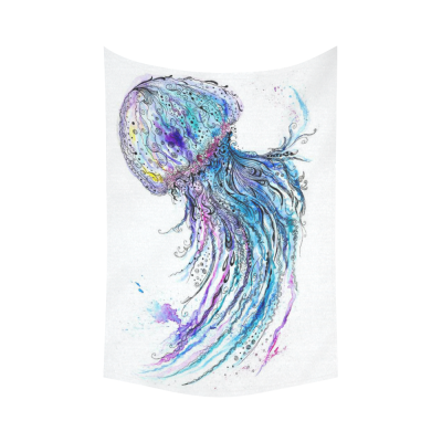 InterestPrint Underwater World Wall Art Home Decor, Watercolor Jellyfish Colorful Cotton Linen Tapestry Wall Hanging Art Sets