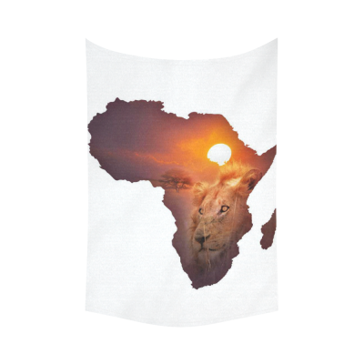 InterestPrint Safari Decor African Art Wildlife Tapestry, Continent Lion Sunset Cotton Linen Tapestry Wall Hanging Art Sets
