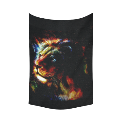 InterestPrint Abstract Art Home Decor, Lion King Painting Colorful Cotton Linen Tapestry Wall Hanging Art Sets
