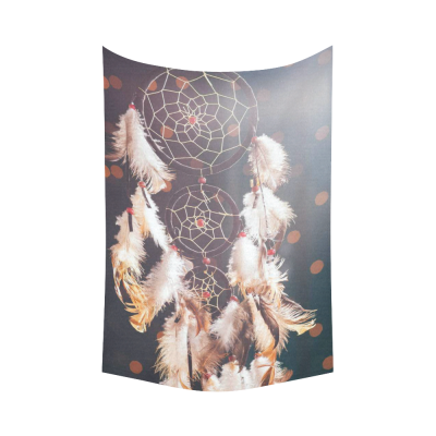 InterestPrint Dream Catcher Wall Art Home Decor, Dreamcatcher Retro Vintage Native American Style Feathers Cotton Linen Tapestry Wall Hanging Art Sets
