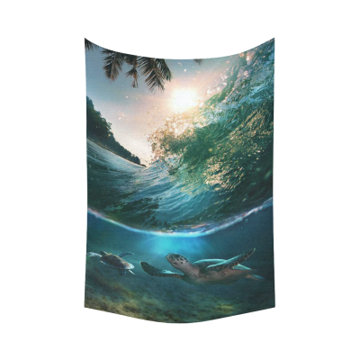 InterestPrint Tropical Paradise Wall Art Home Decor, Ocean Wave and Green Sea Turtles Underwater World Cotton Linen Tapestry Wall Hanging Art Sets