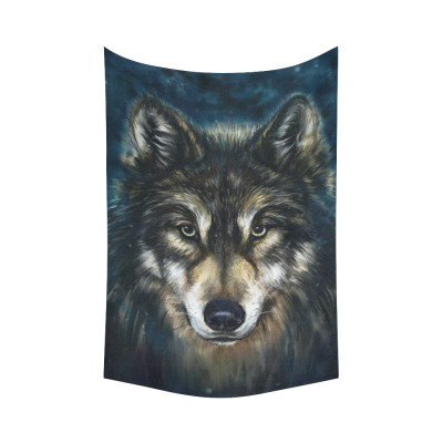 InterestPrint Animal Wall Art Home Decor, Painting Wolf Head Cotton Linen Tapestry Wall Hanging Art Sets