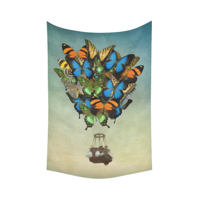 InterestPrint Vintage Wall Art Home Decor, Butterfly Hot Air Balloon in the Sky Cotton Linen Tapestry Wall Hanging Art Sets