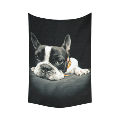 InterestPrint Animal Wall Art Home Decor, a Boring French Bulldog Cotton Linen Tapestry Wall Hanging Art Sets