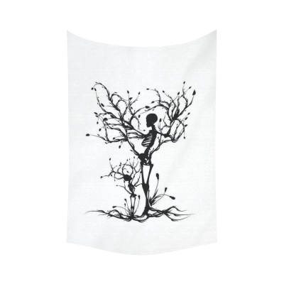 InterestPrint Tree of Life Wall Art Home Decor, Skull Tree Black and White Cotton Linen Tapestry Wall Hanging Art Sets