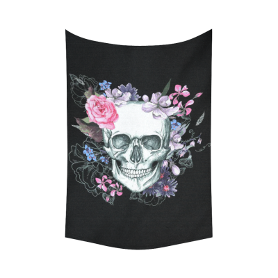 InterestPrint Vintage Sugar Skull Wall Art Home Decor, Skull and Flowers Day of The Dead Cotton Linen Tapestry Wall Hanging Art Sets