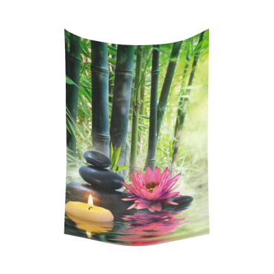 InterestPrint Nature Wall Art Home Decor, Water Lily Flower and Bamboo in Zen Garden Cotton Linen Tapestry Wall Hanging Art Sets