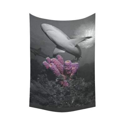 InterestPrint Underwater Wall Art Home Decor, Caribbean Reef Shark Over Pink Coral Cotton Linen Tapestry Wall Hanging Art Sets