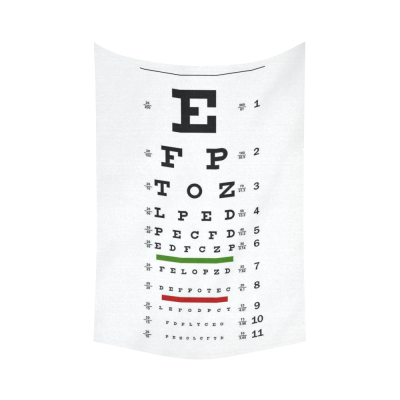 InterestPrint Educational Wall Art Home Decor, Eye Chart Cotton Linen Tapestry Wall Hanging Art Sets