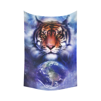 InterestPrint Animal Wall Art Home Decor, Painting Tiger on Color Cosmic Space Cotton Linen Tapestry Wall Hanging Art Sets