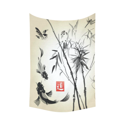 InterestPrint Traditional Japanese Wall Art Home Decor, Bamboo in the Bird and Fish Ink Image Cotton Linen Tapestry Wall Hanging Art Sets