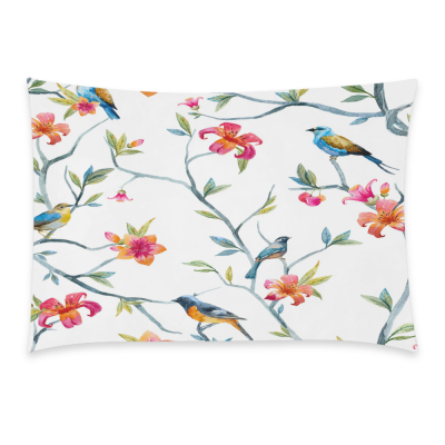 InterestPrint Home Bathroom Decor Watercolor Bird Flower Pillowcases Decorative Pillow Cover Case Shams Standard Size for Couch Bed-Colorful White-20x30 Inch-Polyester Cotton-Tropical Bird Floral Tree