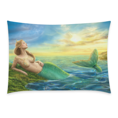InterestPrint Sea Beautiful Princess Fantasy Mermaid at Sunset Pillowcase for Couch Bed 20 x 30 Inches - Fairy Ocean Life Shimmer Mermaid Pillow Cover Shams Decorative