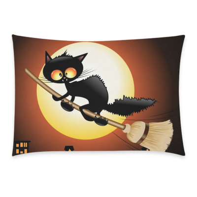 InterestPrint Happy Halloween Cute Black Cat Lovely Moon Cartoon Home Decor Pillowcase 20 x 30 Inches - Night Moon Cat Flying on Witch Broom Pillow Cover Case Shams Decorative