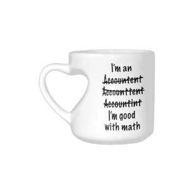 InterestPrint Kitchen & Dining Funny Grammer Misspelled Ceramic Coffee Mug Cup with Love Heart Shaped Handle-White-10.3 oz-I'm An Accountant Misspelled I'm Good at Math