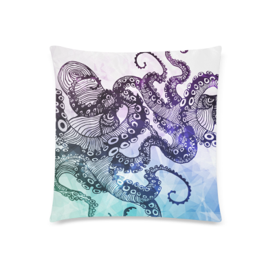 InterestPrint Hipster Octopus Custom Colorful Pillowcase for Couch Bed 18 x 18 Inches - Abstract Sign for Tattoo Comfortable Soft Pillow Cover Case Shams Decorative