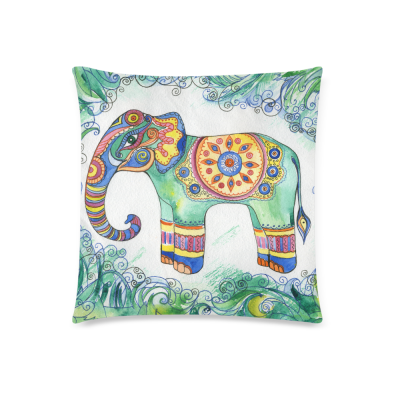 InterestPrint Vintage Colorful Aztec Tribal Elephant Floral Art Pillowcase for Couch Bed 18 x 18 Inches - Abstract Elephant Tattoo Design Pillow Cover Case Shams Decorative