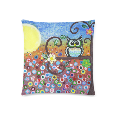 InterestPrint Abstract Cute Vintage Owl in Forest Floral Print Cartoon Pillowcase for Couch Bed 18 x 18 Inches - Oil Painting Owl Flower Colorful Pillow Cover Case Shams Decorative