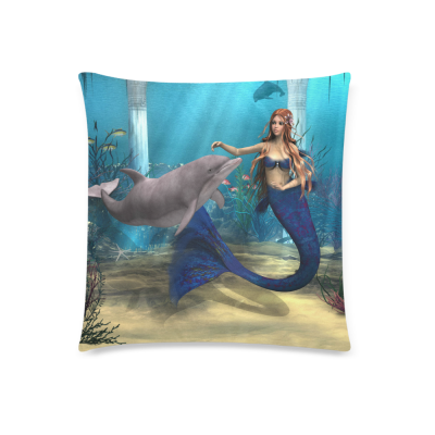 InterestPrint Ocean 3D Underwater World Home Decor, Nice Mermaid Dolphin Starfish Pillowcase 18 x 18 Inches - Sea Grass Fish Blue Cotton Pillow Cover Case Shams Decorative