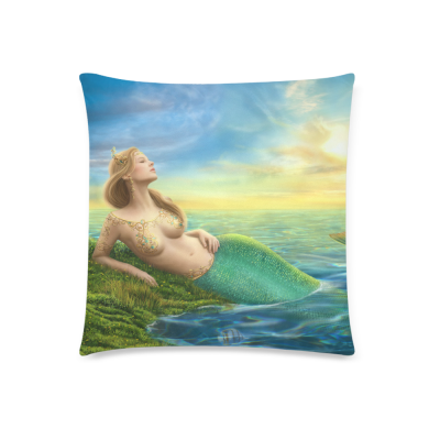 InterestPrint Sea Gorgeous Princess Fantasy Mermaid at Sunset Pillowcase for Couch Bed 18 x 18 Inches - Ocean Life Shimmer Mermaid Pillow Cover Shams Decorative