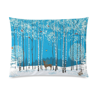 InterestPrint Magic Winter Forest Birch Tree with Lovely Bird Deer Squirrel Fox Home Decor, Snow Tree of Life Pillowcase 20 x 26 Inches Soft Pillow Cover Case Shams Decorative