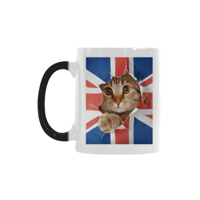 InterestPrint Kitchen & Dining Union Jack Funny Cat Morphing Mug Heat Sensitive Color Changing Mug Ceramic Coffee Mug Cup-White-11 oz-Union Jack UK Flag United Kingdom British England Funny Cat Kitty