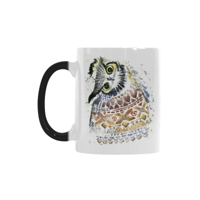 InterestPrint Kitchen & Dining Crooked Neck Owl Morphing Mug Heat Sensitive Color Changing Mug Ceramic Coffee Mug Cup-White-11 oz-Funny Cute Watercolor Owl Crooked Neck