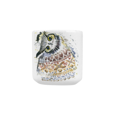 InterestPrint Kitchen & Dining Crooked Neck Owl Ceramic Coffee Mug Cup with Love Heart Shaped Handle-White-10.3 oz-Funny Cute Watercolor Owl Crooked Neck