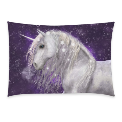 InterestPrint A Beautiful White Unicorn Home Decor, Sparkling Snow Flakes Pillowcase 20 x 30 Inches One Side - Purple Background Pillow Cover Case Shams Decorative