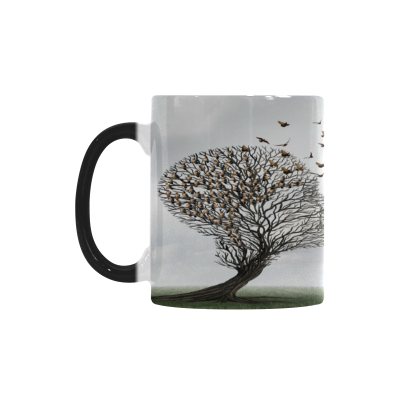 InterestPrint Kitchen & Dining Tree Bird Morphing Mug Heat Sensitive Color Changing Mug Ceramic Coffee Mug Cup-White-11 oz-Human Head Tree Brid Grey Cloudy Sky Communication Concept Metaphor