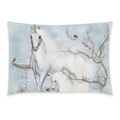 InterestPrint Fantasy Unicorn Home Decor, Winter Tree Bird Pillowcase 20 x 26 Inches One Side - Starry Sky Pillow Cover Case Shams Decorative