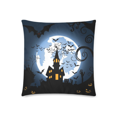 InterestPrint Halloween Pumpkin Home Decor, Orange Pumpkin Old Castle House Pillowcase 18 x 18 Inches - Moonlight Pillow Cover Case Shams Decorative