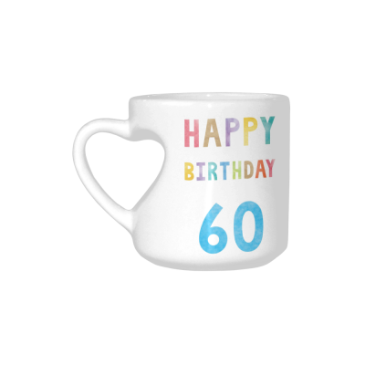 InterestPrint 60 Year Old 60th Happy Birthday Anniversary White Ceramic Heart-shaped Travel Water Coffee Mug Tea Cup, Funny Unique Birthday Gift for Husband Wife Boy Girl Friends Him Her Lover