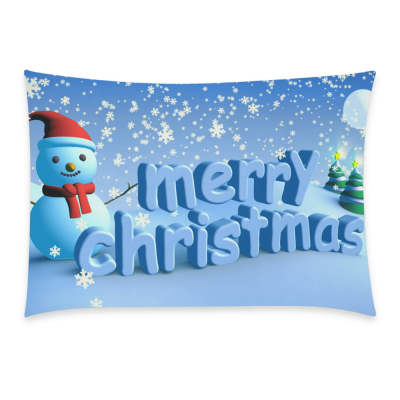 InterestPrint Home Decoration Merry Christmas Snowman Pillowcase Standard Size 20 x 30 Inches, Winter Snow Snowflake Landscape Pillow Cases Cover Set Pet Shams Decorative