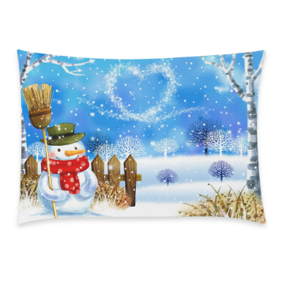 InterestPrint Home Decoration Christmas Snowman Pillowcase 20 x 30 Inches, Winter White Snow Snowflake Tree Branch Heart Shape Polka Dot Pillowcase Comfortable Soft Pillow Cover Case Shams Decorative