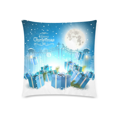InterestPrint Merry Christmas Home Decor Christmas Gifts in the Snow Full Moon Pillowcase Cushion 18 x 18 Inches - Polka Dot Blue Pillow Cover Case Shams Decorative
