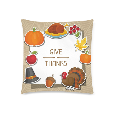 InterestPrint Happy Thanksgiving Day Home Decor, Orange Pumpkin Maple Tree Turkey Pillowcase Cushion 18 x 18 Inches - Autumn Harvest Vintage Pillow Cover Case Shams Decorative