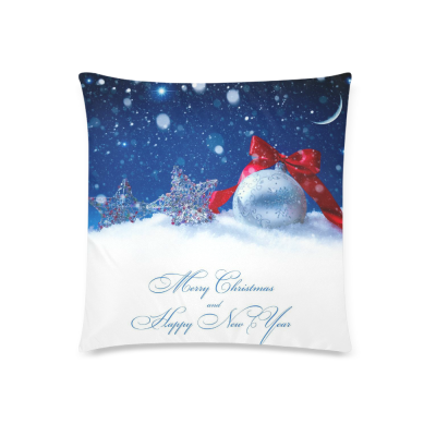 InterestPrint Merry Christmas Home Decor, Christmas Gifts Pillowcase Cushion 18 x 18 Inches - Winter Snow Snowflake Blue Pillow Cover Case Shams Decorative