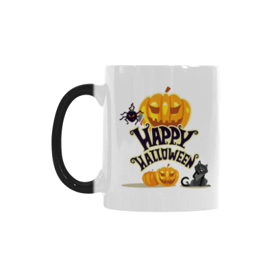 InterestPrint Custom Happy Halloween Pumpkin Black Cat Spider 11oz Heat Sensitive Color Changing Morphing Coffee Mug Tea Cup Travel, Funny Unique Halloween Birthday Gift for Men Women Him Her