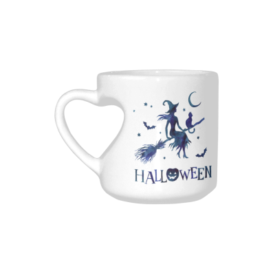 InterestPrint Kitchen & Dining Happy Halloween Ceramic Coffee Mug Cup with Love Heart Shaped Handle-White-10.3 oz-Happy Halloween Witch Jack-O-Lantern Pumpkin Lamp Moon Broomstick Bat Cat Blue Color