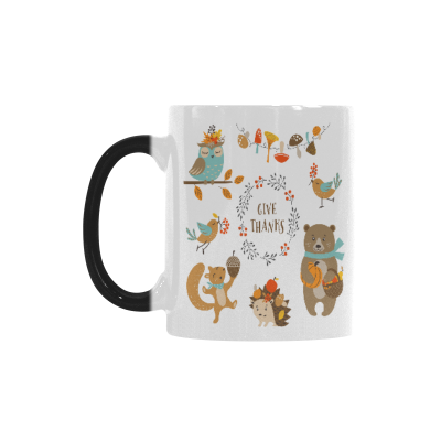 InterestPrint Thanksgiving Design Owl Woodland Animals for Autumn 11oz Heat Sensitive Color Changing Morphing Coffee Mug Tea Cup Travel, Funny Unique Birthday Gift for Men Women Him Her